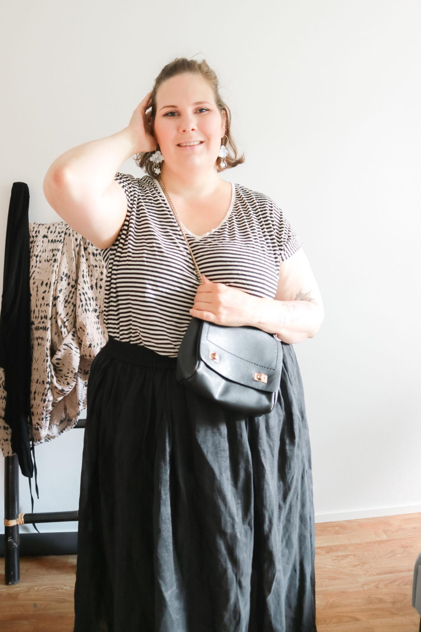 Rento raitapaita ja hame - Pluskokoisten muoti - BMH  - Big mamas home by Jenni